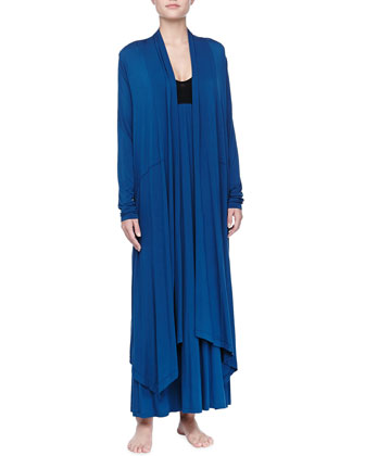 Liquid Jersey Wrap Robe, Mazarine Blue