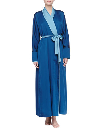 Laundered Long Satin Robe, Mazarine Blue