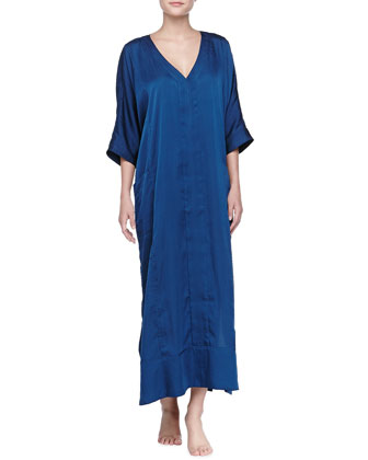 Laundered Satin Caftan Nightgown, Mazarine Blue