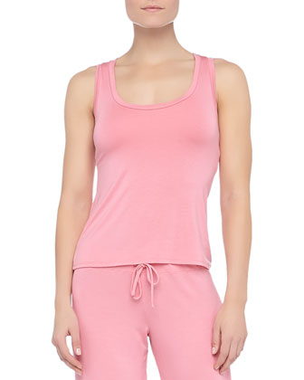 Epoque Lace-Back Sleep Tank with Shelf Bra, Rose Coral