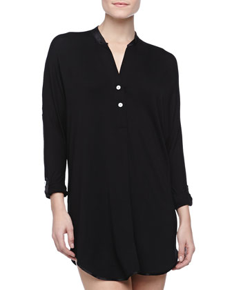 At Night Jersey Nightshirt, Black