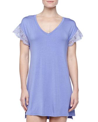 Epoque Lace-Sleeve Jersey Sleepshirt