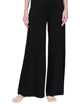 Silk Trim Wide-Leg Pants, Black