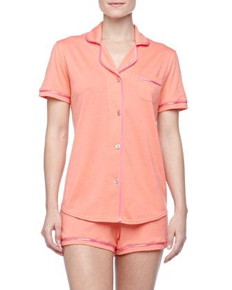 Bella Boxer-Short Jersey Pajama Set, Coral/Pink
