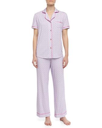 Bella Square Dot-Print Pajamas, Lilac/Pink