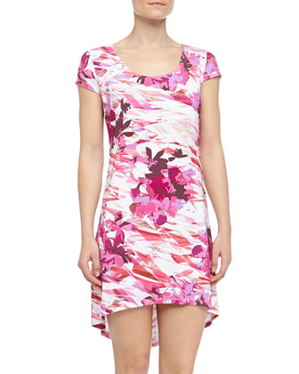 Anna Geometric Floral Print High-Low Chemise, Irish/Shell Pink