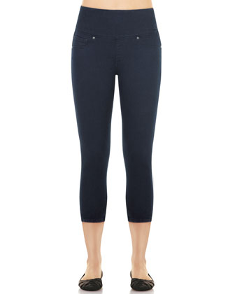 Denim Capri Leggings, Indigo
