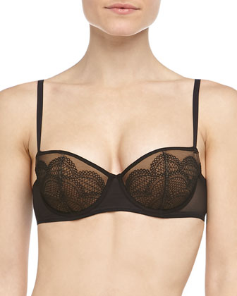Camelia Embroidered Mesh Balconette Bra, Black