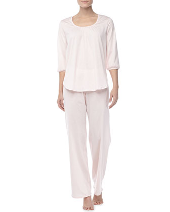 Vanessa 3/4-Sleeve Pajama Set, Tender Rose