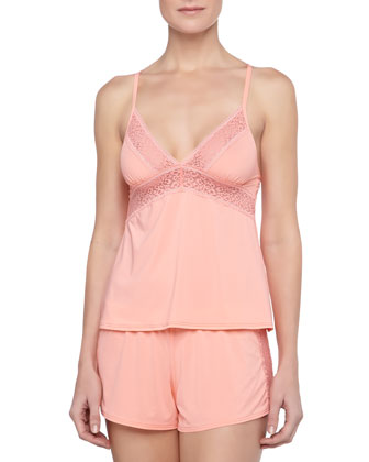 Fiorenza Cross-Back Lace-Trim Camisole