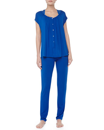 Niloufer Short-Sleeve Lace-Trim Pajamas, Blue