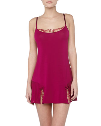 Padma Sequin Trimmed Babydoll Chemise, Fuchsia
