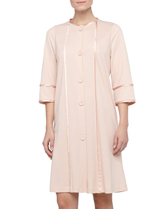 Amita Button-Front Knit Robe, Rosa