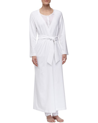 Maya Long Stretch Knit Robe, White