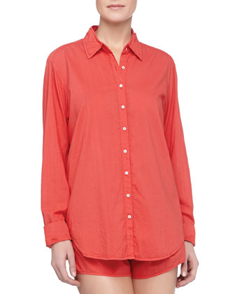 Poplin Cotton Sleep Shirt, Poppy