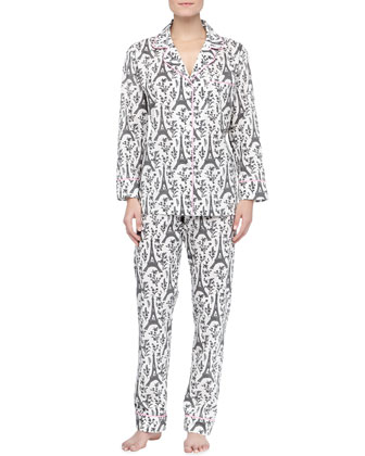 Eiffel Tower-Print Knit Pajamas, Black/Cream