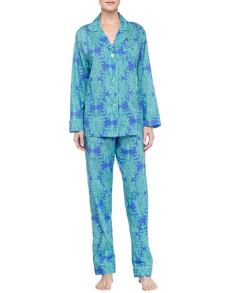 Royalty Paisley-Print Voile Pajama Set, Blue/Green