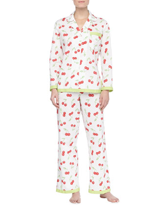 Cherry Cotton Ribbon PJs, Ivory