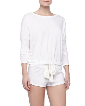 Heather Slub Drawstring Lounge Shorts, Cloud
