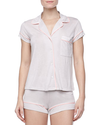 Gisele Boxer-Short Jersey Pajama Set, Pearl Gray/Coral