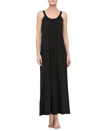 Pima Cotton Relaxed Long Nightgown, Black