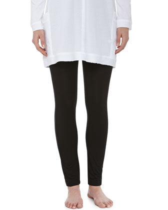 Long-Sleeve Soft Jersey Sleepshirt & Liquid Jersey Basic Leggings