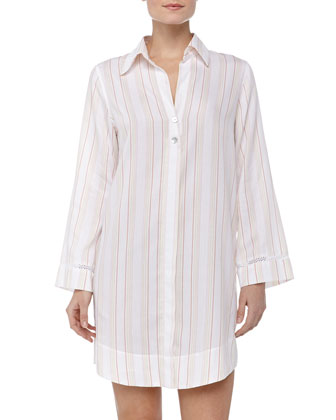 Striped Cotton Sleepshirt, Orange Stripe