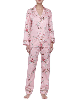 Birds & Blossom Sateen Notch PJ Set