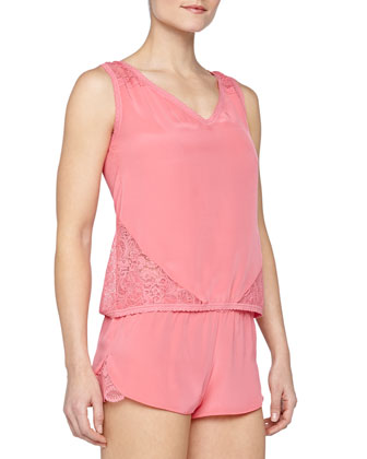 Serenity Scalloped Lace Inset Silk Boxer Shorts, Guava