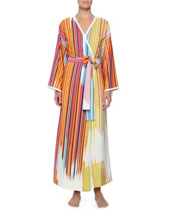 Loren Striped Charmeuse Robe