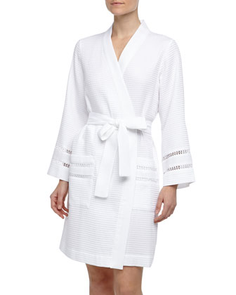 Spa Oasis Crochet-Trim Short Robe, White