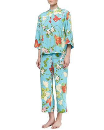 Peranakan Mandarin Floral-Print Pajama Set, Women's