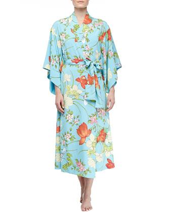 Peranakan Floral Print Long Gown & Long Kimono Robe