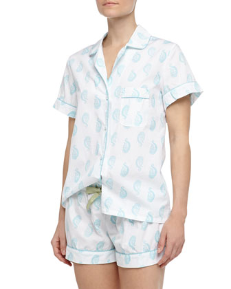 Eloise Batik Paisley Print Short Pajamas, Light Blue/White