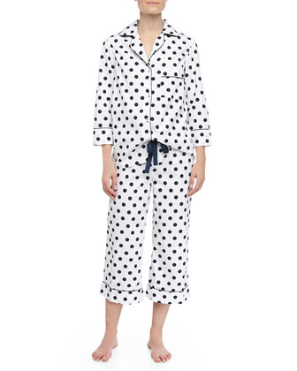 Kate Polka Dot Capri Pajamas, Navy/White