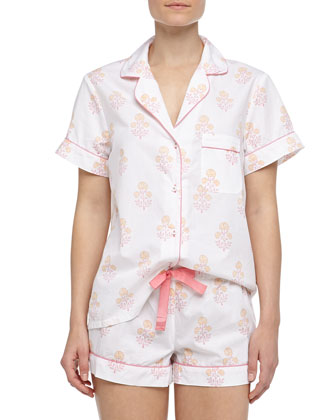 Eloise Indian Flower Print Short Pajamas, Pink/Orange/White