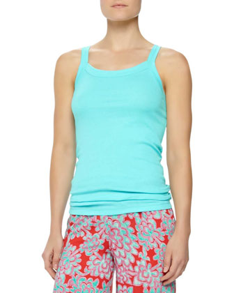 Amp'd Ribbed Jersey Lounge Tank, Light Turquoise