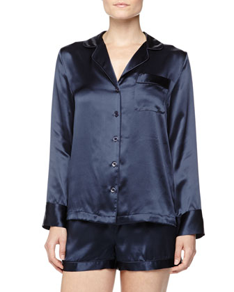 Long-Sleeve Silk Shorty Pajamas, Navy