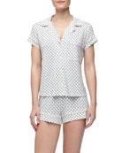 Petite-Batik Shorty Pajama Set, Cyan