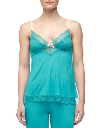 Summer Lace-Trim Camisole, Turquoise