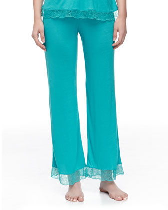 Summer Jersey Lace-Trim Pants, Turquoise
