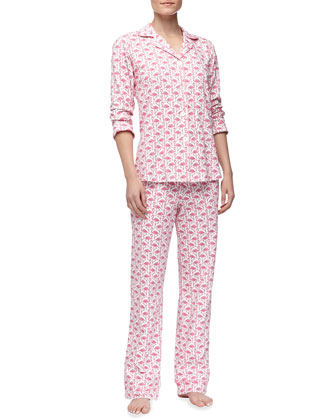 Flamingo-Print Stretch-Knit Pajamas
