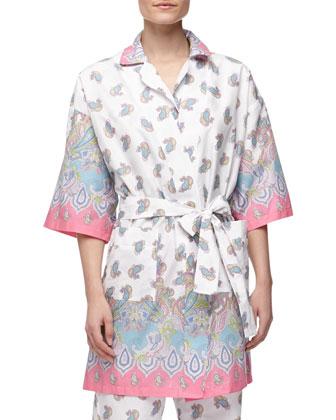Paisley-Print Poplin Robe