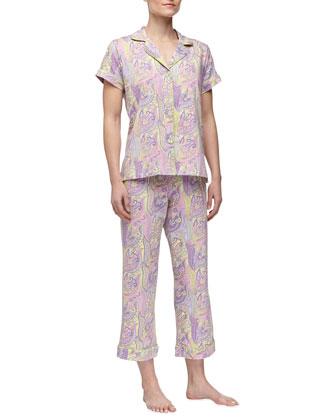 Paisley-Print Short-Sleeve Pajamas, Lilac
