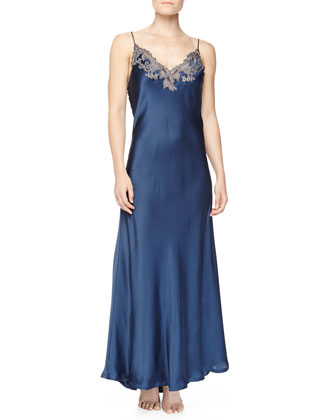 Maison Floral Lace Embroidered Long Gown, Blue/Gray