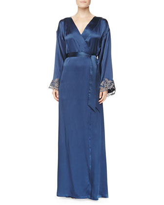 Maison Floral Lace Embroidered Long Robe, Blue/Gray