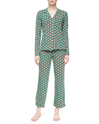 Madame Foulard Pajama Set, Navy