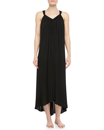 Tissue Crepe High-Low Long Tank Nightgown, Black