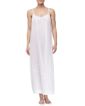 Long Batiste Tank Nightgown, White