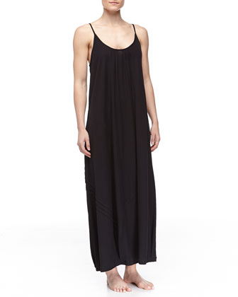 Long Pima Cotton Tank Gown, Black